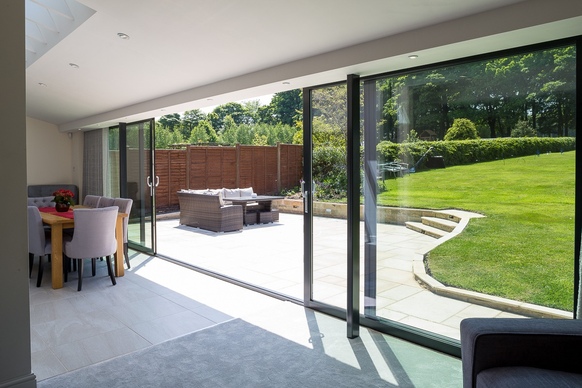 Custom full width aluminium sliding doors West Yorkshire