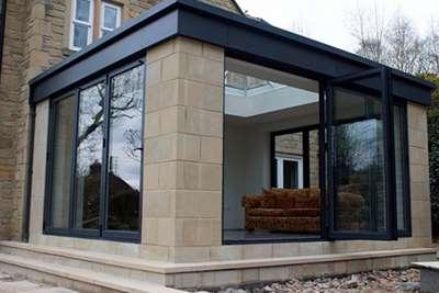 Bi-Folding Aluminium Patio Doors on Conservatory