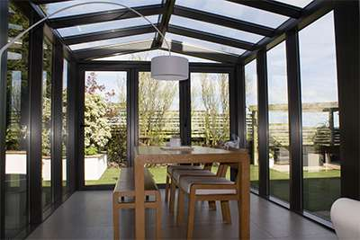 Rear Conservatory with windows and doors