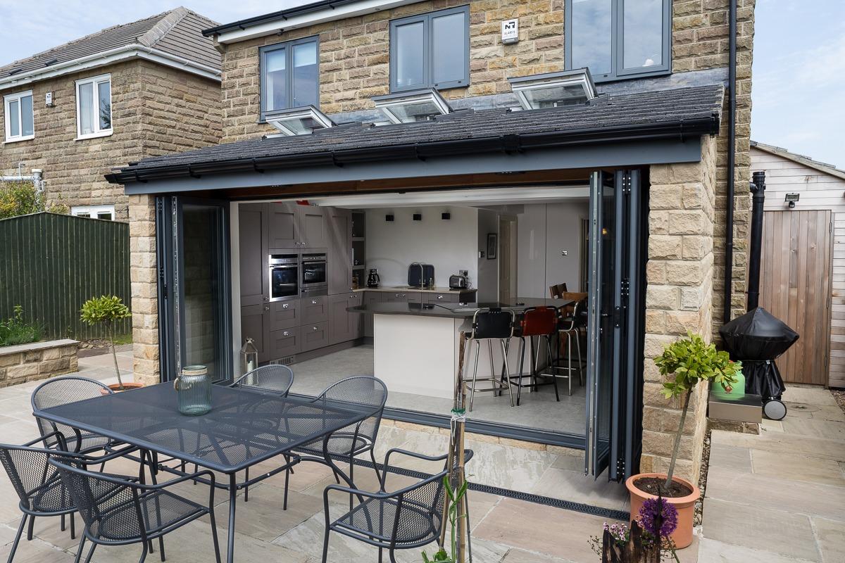 Black Patio Aluminium Bi-Folding Doors