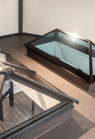 roof lanterns in product showroom yorkshire